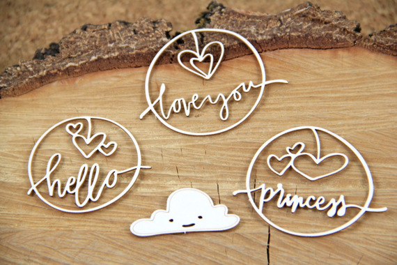 Chipboard lettering - Clouded hearts - Princess