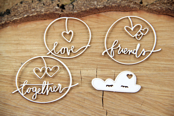 Chipboard lettering - Clouded hearts - Together