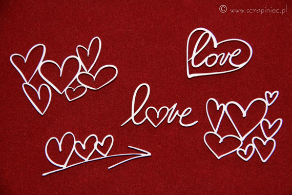 Chipboard lettering - hearts - Brush art elements