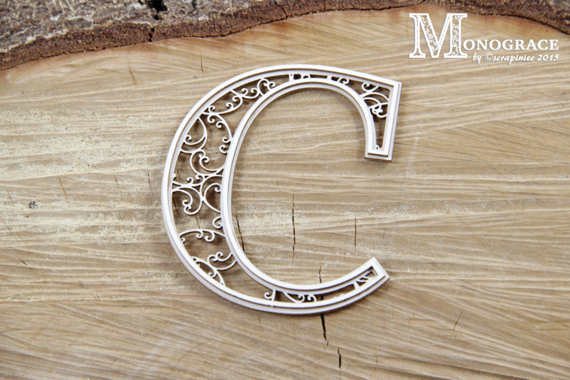 Chipboard monogram C - Monograce -7cm