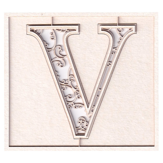 Chipboard monogram V - Monograce - 7cm
