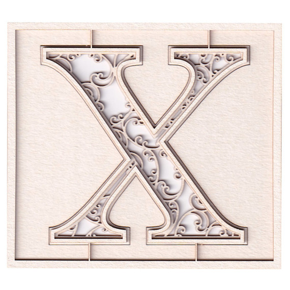 Chipboard monogram X - Monograce -7 cm - 2 layers