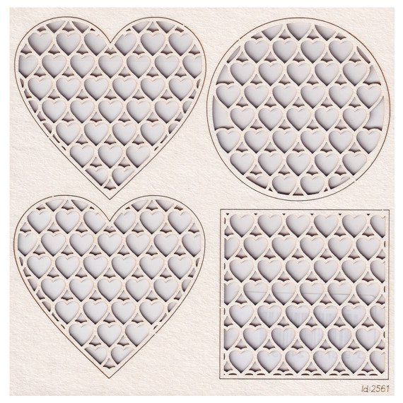 Chipboard net with hearts - different shapes backgrounds
