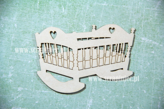 Chipboard openwork rocking cradle