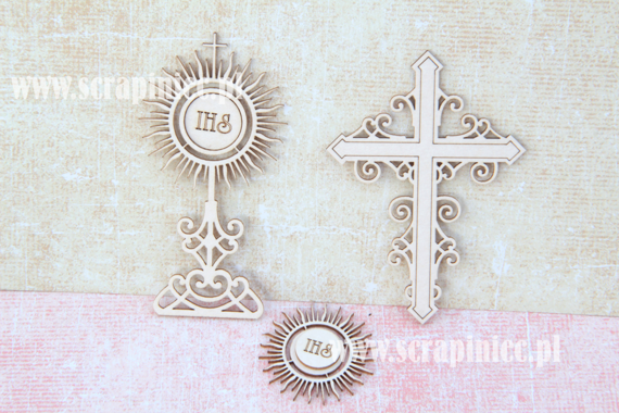 Chipboard - ornament set - cross, monstrance, host