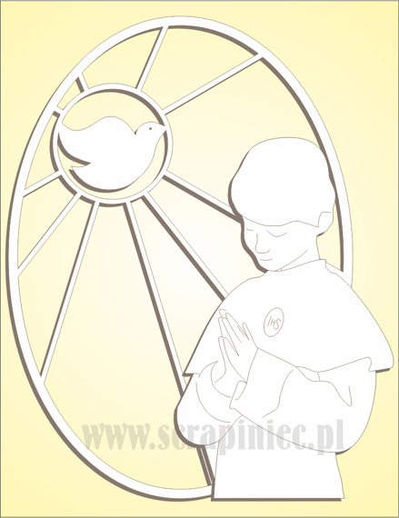 Chipboard - oval stained glass window with a boy and a dove - left side