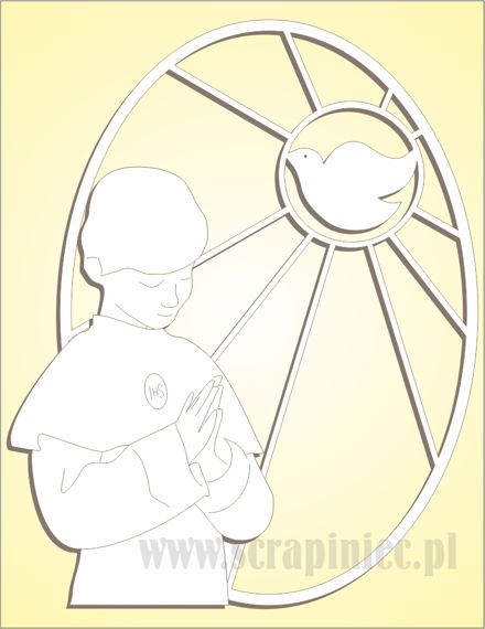 Chipboard - oval stained glass window with a boy and a dove - right side