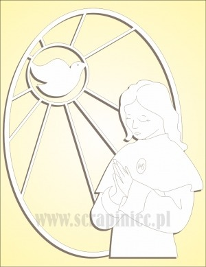 Chipboard - oval stained glass window with a girl and a pigeon - left side