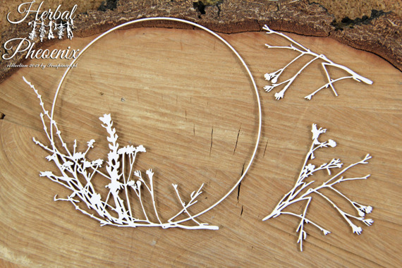 Chipboard round frame with plants - Herbal Phoenix Collection