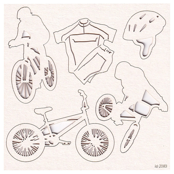 Chipboard set Biker and bike accessories