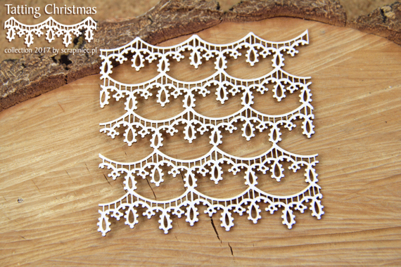 Chipboard - small background - Tatting Christmas