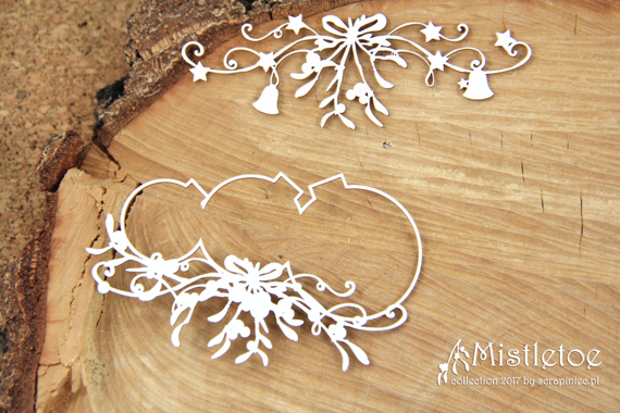 Chipboard - small baubles - Mistletoe