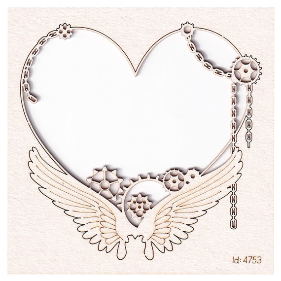 Chipboard - small frame with a heart - Steampunk