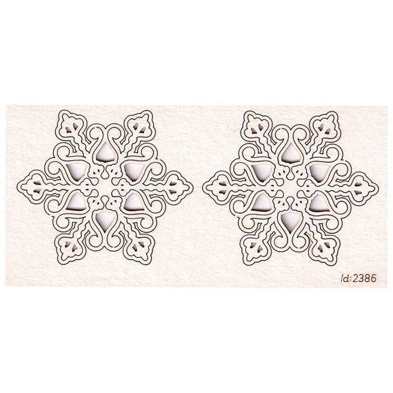 Chipboard snowflakes 2 pcs
