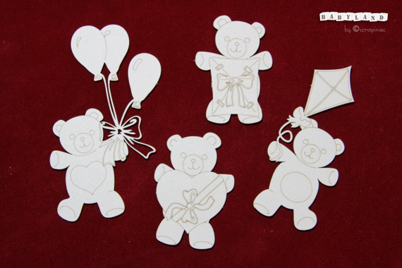 Chipboard teddies with balloons, kite, heart, gift box - Babyland - Party Teddies