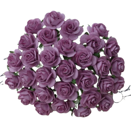 DARK LILAC MULBERRY PAPER OPEN ROSES