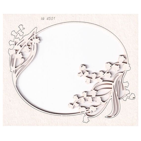Chipboard - Lilly of the valley - Oval Frame 03