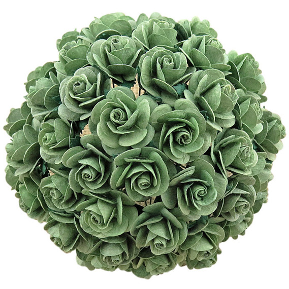 MINT GREEN MULBERRY PAPER OPEN ROSES