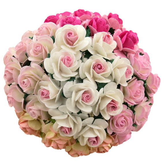 MIXED 2-TONE PINK MULBERRY PAPER OPEN ROSES