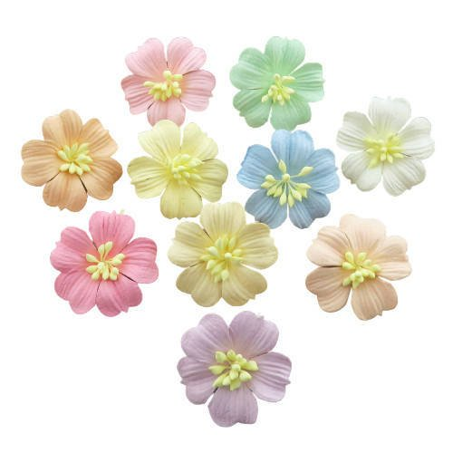 MIXED PASTEL COTTON STEM MULBERRY PAPER FLOWERS - SET B