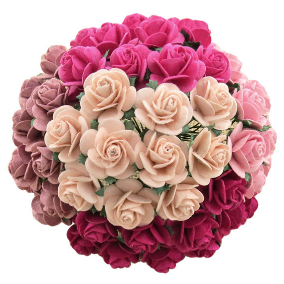 MIXED PINK MULBERRY PAPER OPEN ROSES