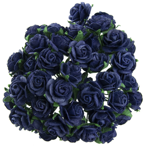 NAVY BLUE MULBERRY PAPER OPEN ROSES