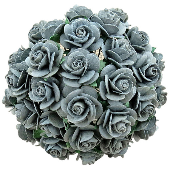 PARMA GREY MULBERRY PAPER OPEN ROSES