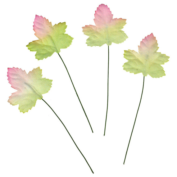 "PINK-GREEN MAPLE LEAVES  1.4"" (35mm) - 10pcs"