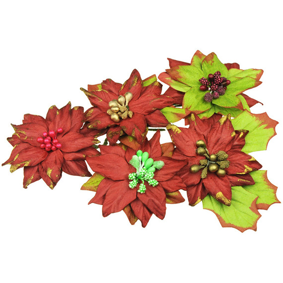 PRETTY FLORI MULBERRY PAPER FLOWERS - GREEN & RED
