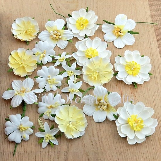 PRETTY FLORI MULBERRY PAPER FLOWERS - MIXED WHITE