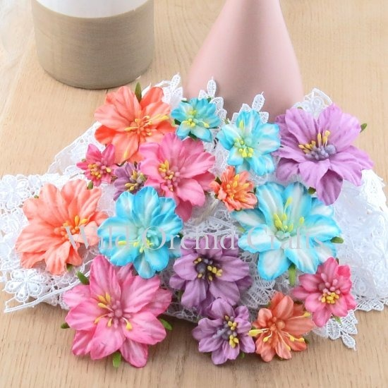PRETTY FLORI MULBERRY PAPER FLOWERS - PASTEL GEUMS