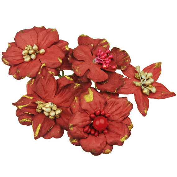 PRETTY FLORI MULBERRY PAPER FLOWERS - RED