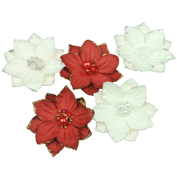 PRETTY FLORI MULBERRY PAPER FLOWERS - RED & WHITE