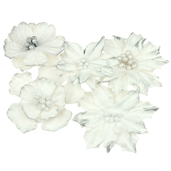 PRETTY FLORI MULBERRY PAPER FLOWERS - SNOW WHITE