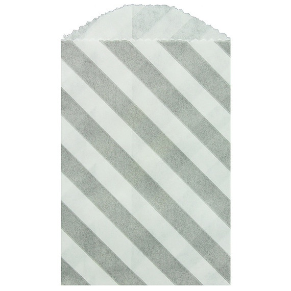 "Paper Bags 10pcs 2.75 x 4"" (7x10cm) - Grey Diagonal Stripes - Whisker Graphics"