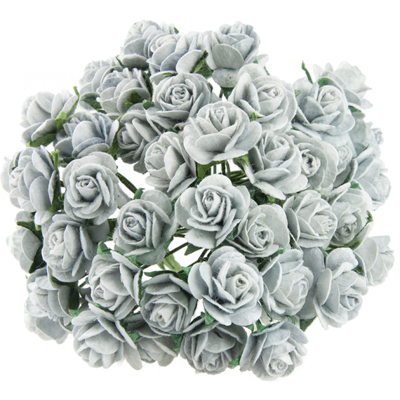 SILVER GREY MULBERRY PAPER OPEN ROSES