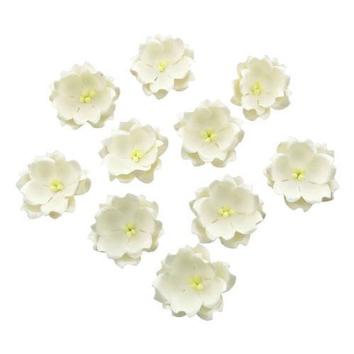 WHITE COTTON STEM MULBERRY PAPER FLOWERS - SET E