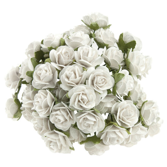 WHITE MULBERRY PAPER OPEN ROSES