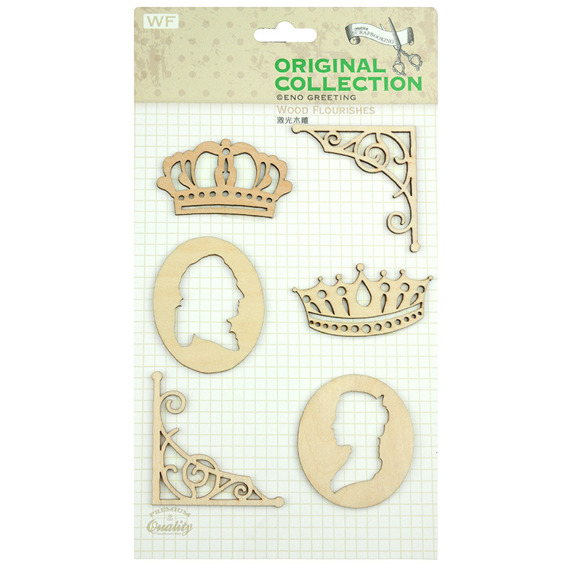WOODEN DIE CUT FLOURISHES - CROWNS BORDERS & CAMEOS